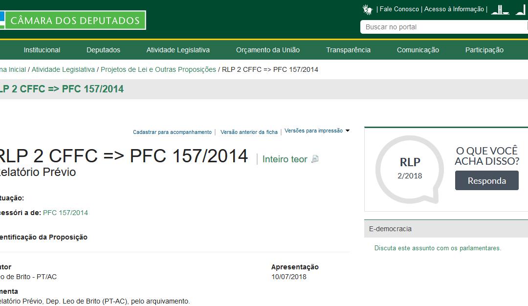 CÂMARA RELATÓRIO: RLP 2 CFFC => PFC 157/2014