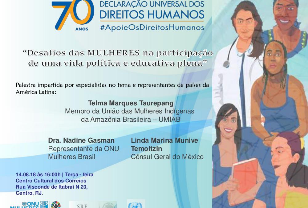 ONU: No Rio, Consulado do México e ONU debatem participação da mulher na política e educação