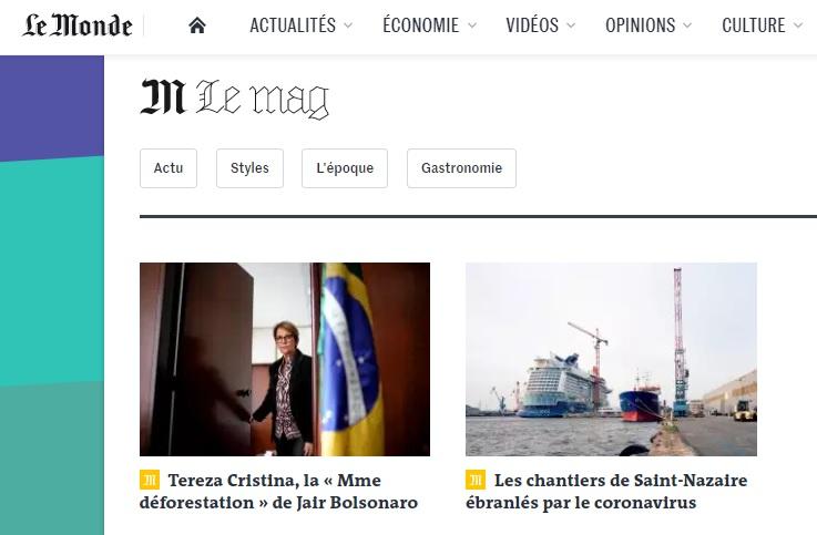 """DE OLHO NOS RURALISTAS: Le Monde faz perfil de Tereza Cristina e a chama de """"Senhora Desmatamento"""" de Bolsonaro"""