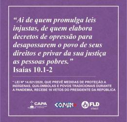 COMIN: Manifesto público aos vetos do Presidente da República na Lei nº 14.021/2020
