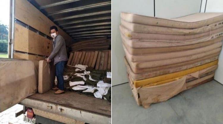 DE OLHO NOS RURALISTAS: Exército e Sesai doam colchões velhos e sujos para indígenas com Covid-19 em SC