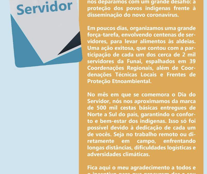FUNAI: Em mensagem de agradecimento, presidente da Funai destaca o trabalho dos servidores para proteção dos povos indígenas