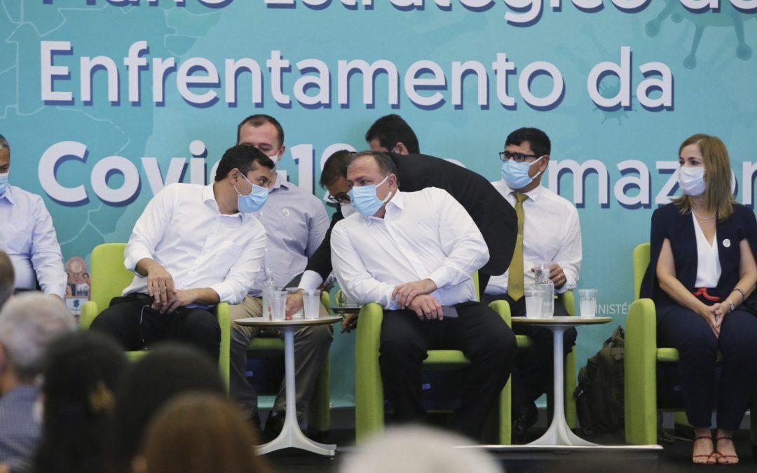 """AMAZÔNIA REAL: Pandemia: Ministro da Saúde diz que prioridade na vacinação """"é o Brasil todo"""" e indica """"tratamento precoce"""" em Manaus"""